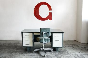 "SOLD - Jumbo Vintage Letter ""G"" Wall Hanging, Letterman Font, 1960s"