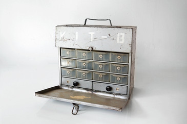 """SOLD - 1960s Multi-Drawer, Carry-All, Industrial Steel Toolbox, """"KIT-B"""""""