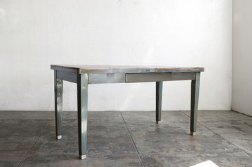 SOLD - 1940s Steel Tanker Table with Reclaimed Wood Top
