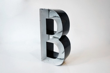 "SOLD - Vintage Channel Sign Letter ""B"" in Black and White"