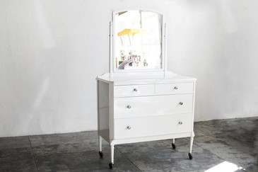 SOLD - 1920s Steel Dresser With Mirror, Refinished