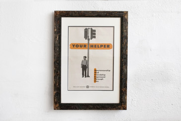 SOLD - Your Helper - Mid Century PSA Poster, Framed