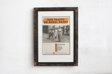 SOLD - Face Traffic, Rural Roads - Mid Century PSA Poster, Framed