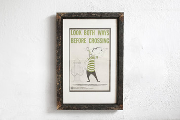 SOLD - Look Both Ways - Mid Century PSA Poster, Framed