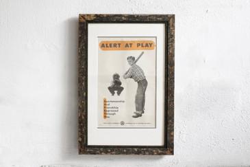 SOLD - Alert at Play- Mid Century PSA Poster, Framed