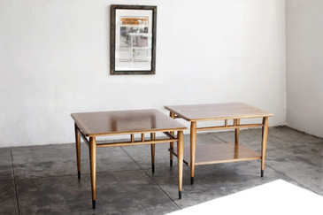 SOLD - Pair of Mid Century Modern Walnut Side Tables by LANE