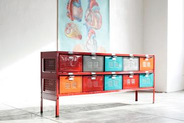 5 x 2 Vintage Locker Basket Unit, Red Frame
