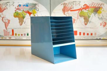 SOLD - Space Age Desktop File Holder, Refinished in Sky Blue