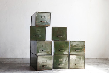 SOLD - 20th Century Fox 1940s Vintage Steel Filing Cabinet Boxes