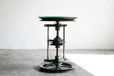SOLD - Reclaimed Antique Cast-Iron and Glass Industrial Side Table
