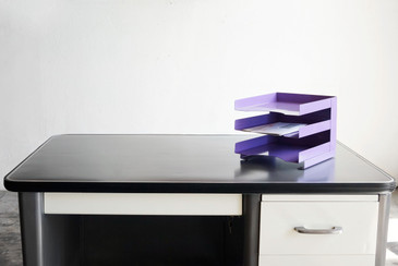 SOLD - Vintage Desktop File Holder, Refinished in Lilac