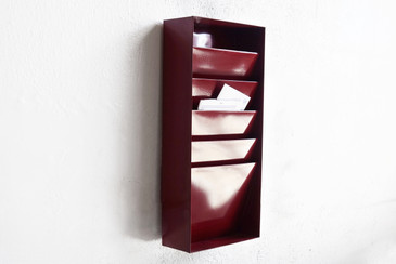 SOLD - Retro Office File Holder/ Magazine Rack in Wine