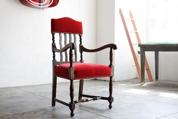 SOLD - Antique Wooden Armchair with Red Mohair, circa 19th Century