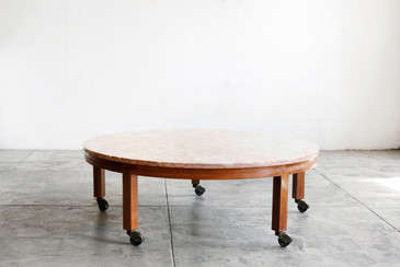 SOLD - Vintage Pink Marble and Walnut Round Coffee Table
