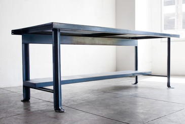 SOLD - Industrial Steel Workbench in Blue, c. 1950s
