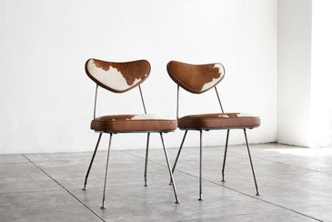 SOLD - Pair of 1950s Hairpin Side Chairs in Cowhide
