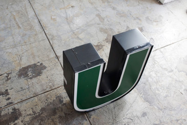 """SOLD - Vintage Channel Signage Letter """"U"""" in Green and White, Large"""
