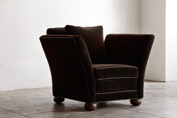 SOLD  - Large Vintage Club Chair in Brown Velvet