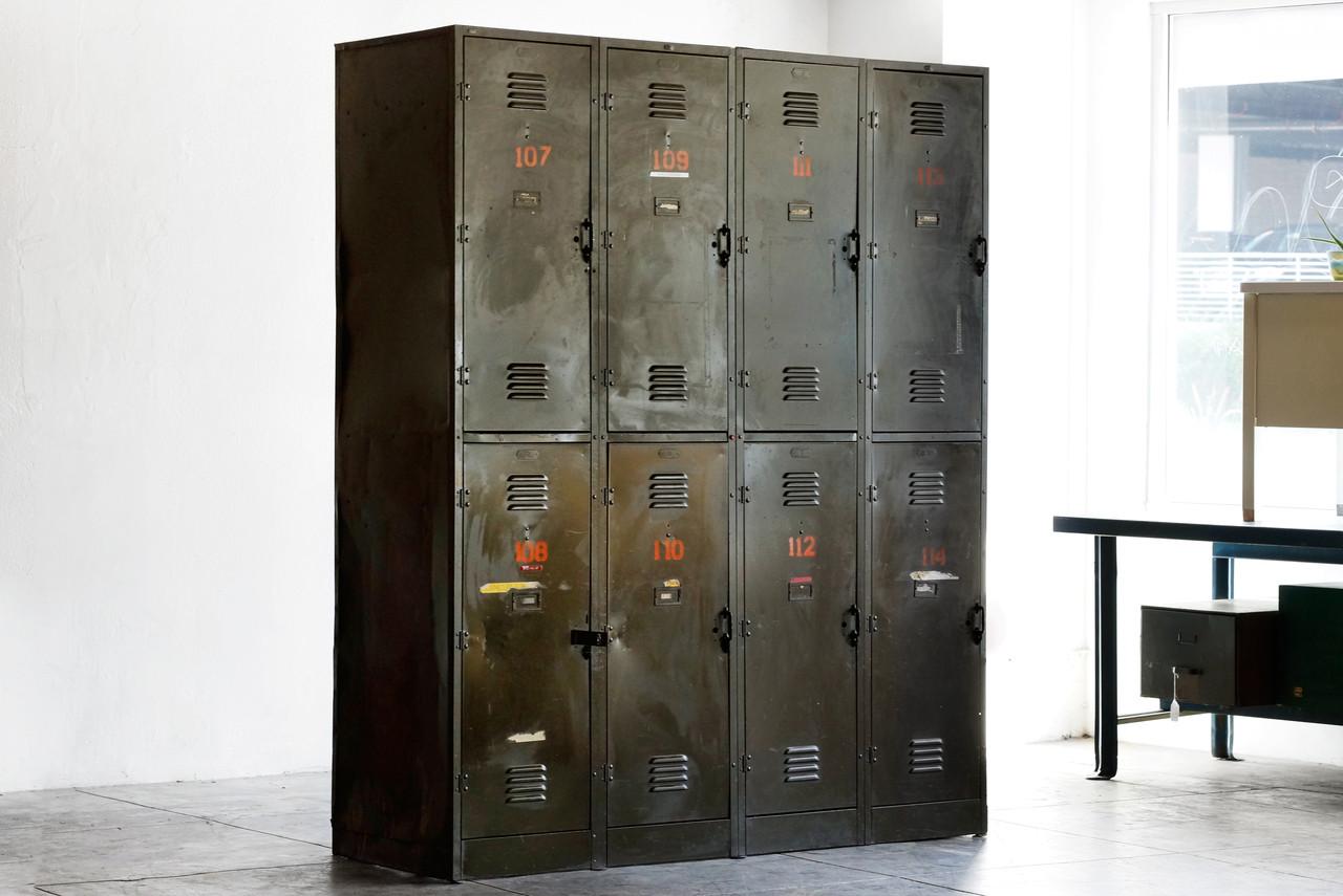 SOLD   Massive Vintage Locker Unit From The DOD, C. 1940s