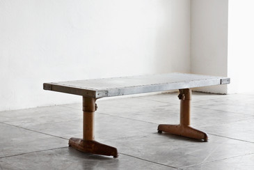 SOLD - Mid Century Coffee Table with Custom Zinc Top, Adjustable