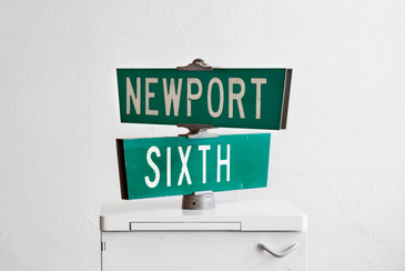 SOLD - Vintage California Street Sign - Newport and Sixth, Long Beach
