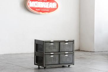 2 x 2 Vintage Locker Basket Unit in Monochrome Natural Steel