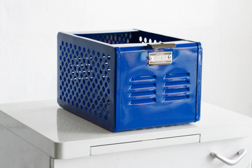 SOLD- LTD EDITION 1950s Mini Locker Basket Refinished in Royal Blue