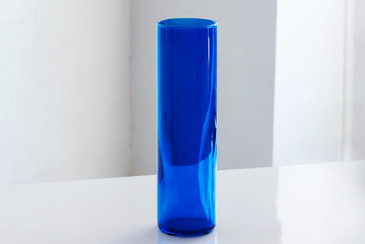 SOLD - Minimalist Blue Glass Vase, c. 1970s