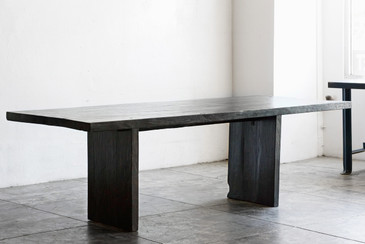 SOLD - Ebonized Teak Dining Table, Vintage Wood