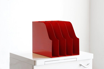 SOLD - Mid Century Desktop File Holder, Red