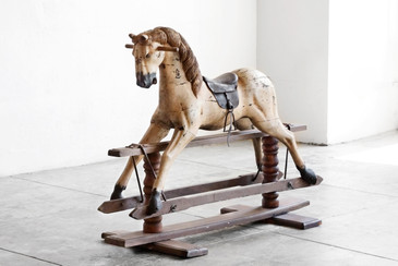 SOLD - Antique Primitive Rocking Horse on Wooden Trestle Base