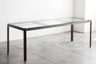 Angle Iron and Glass Industrial Conference/ Dining Table - CUSTOM ORDER