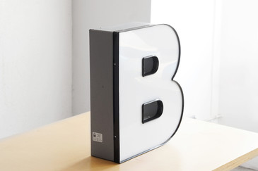 "SOLD - Jumbo Vintage Channel Letter ""B"" in White"