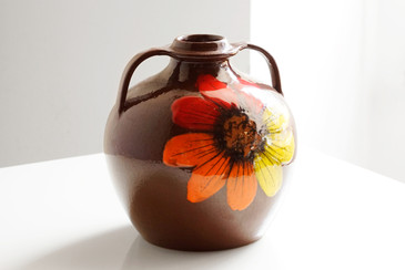 SOLD - Vintage Flower Power Ceramic Jug Vase, Large