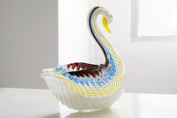SOLD - Large Mid Century Murano Art Glass Swan Bowl, Seguso Style