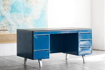 SOLD - Double Pedestal Mode-Maker Desk by Raymond Loewy for GF