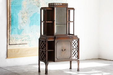 SOLD - Antique Chippendale China Cabinet, Wood, Mirror, Glass