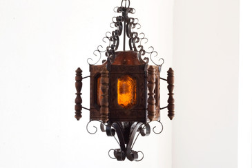 SOLD - 1960s Spanish Revival Pendent Light, Wrought Iron and Wood