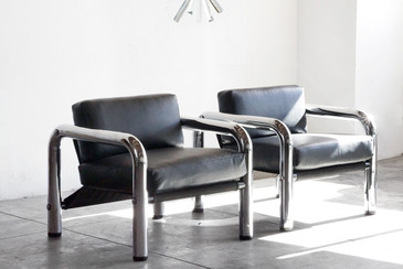 SOLD - Pair of 1960s Chrome Lounge Chairs by John Mascheroni