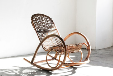 SOLD - Mid Century Modern Rattan Rocking Chair by Franco Albini