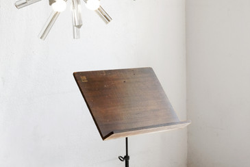 SOLD - Vintage Hamilton Sheet Music Stand, Wood and Cast Iron