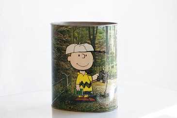 1970s Charlie Brown & Snoopy Trash Can