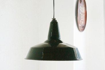 SOLD - Vintage Enamel Barn Light, Green and White