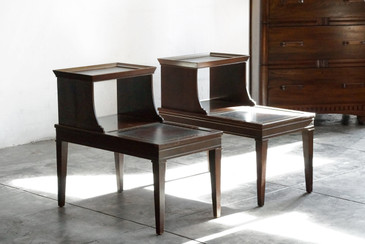 SOLD - Pair of 1970s Wood End Tables with Classical Motif