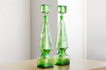 SOLD-Pair of Tall Mid Century Italian Glass Decanters