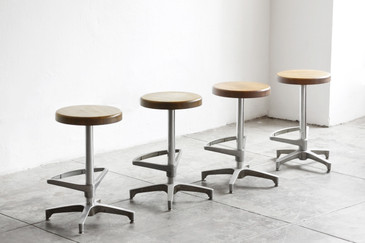 SOLD - Set of 4 Vintage Chrome Modern Swivel Stools