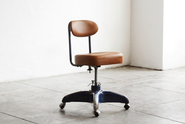 SOLD - 1950s Cosco Steno Chair, Midnight Blue with Brown Leather
