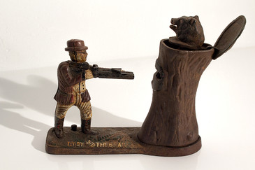 SOLD - Teddy and the Bear Cast Iron Bank, 1898