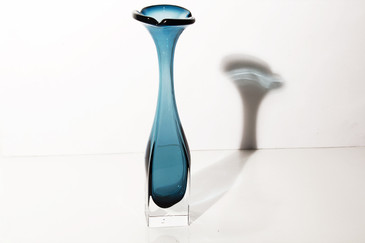 "SOLD - Dark Blue Murano ""Sommerso"" Glass Bud Vase"
