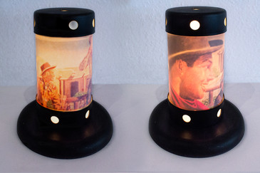 "SOLD - Rare Pair of Translucent ""Cowboy"" Table Lamps, circa, 1955"